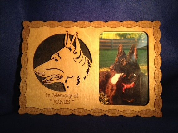 "Custom Dog Memorial Picture Frame and Engraved Image - Wall Frame - 4"" X 6"""