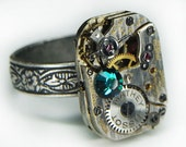 Antique Silver Petite Floral-Etched Steampunk Ring with MATHEY TISSOT Pinstriped Watch Movement and Emerald SWAROVSKI Crystal - Adjustable