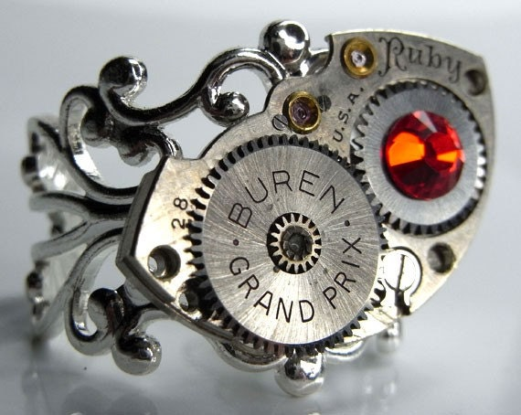 Bright Silver Filigree Steampunk Ring with Watch Movement Barrel Bridge Plate and Ruby Swarovski Crystal - Adjustable