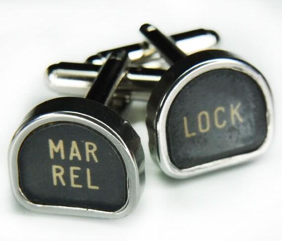 Steampunk Cufflinks Cuff Links - Antique Typewriter Key TOMBSTONE Style - Business, Wedding, Gift - VINTAGE DESIGN