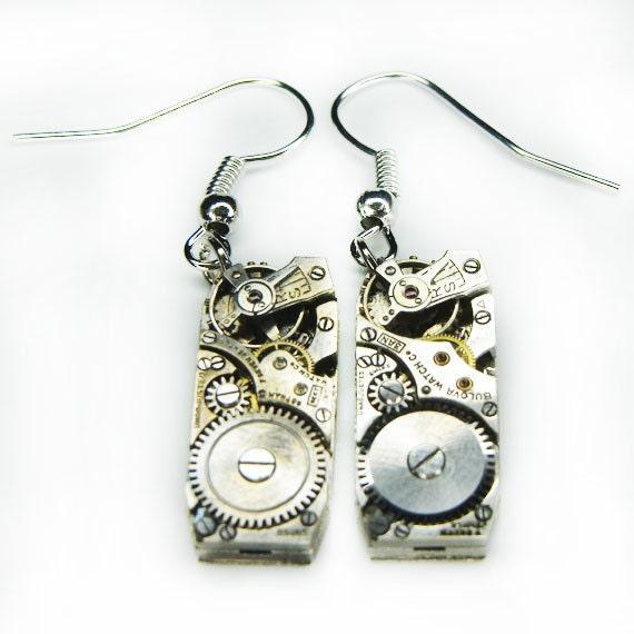 Steampunk Earrings - Vintage Silver ART DECO Rectangular Antique Watch Movement - STUNNING Set