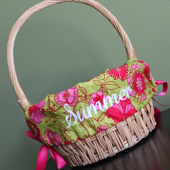 Personalized Monogrammed Easter Basket Liner Pink And