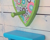 Shelf Wall Hook Set Upcycled Wooden - Bright Flowered Fun by OrangiesAttic on etsy