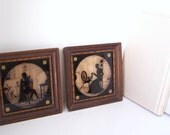 Antique Framed Silhouette Reverse Paintings on Glass - Pair of Perfect 1930's Treasures by OrangiesAttic on etsy