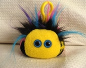 RESERVED - Mini monster plush keychain, peace sign rainbow fleece, Paggi the Peaceful