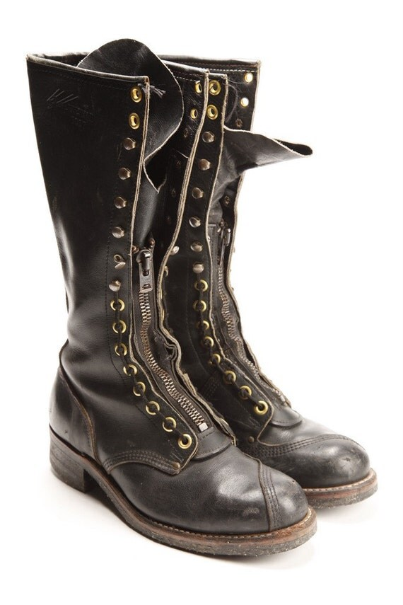 Black tall lineman work boots with zippers (Free Shipping)