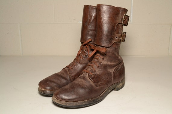 Army WWII 1940s Brown Combat Boots Men Size 11 1/2