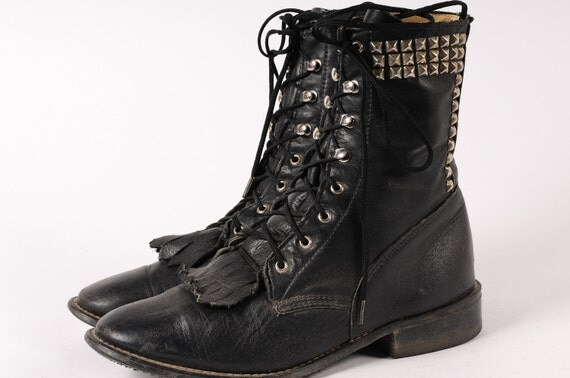 Black Leather Studded Boots Womans Size 6.5