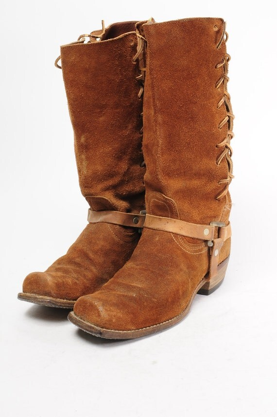1960 mens suede harness boots size 10 5