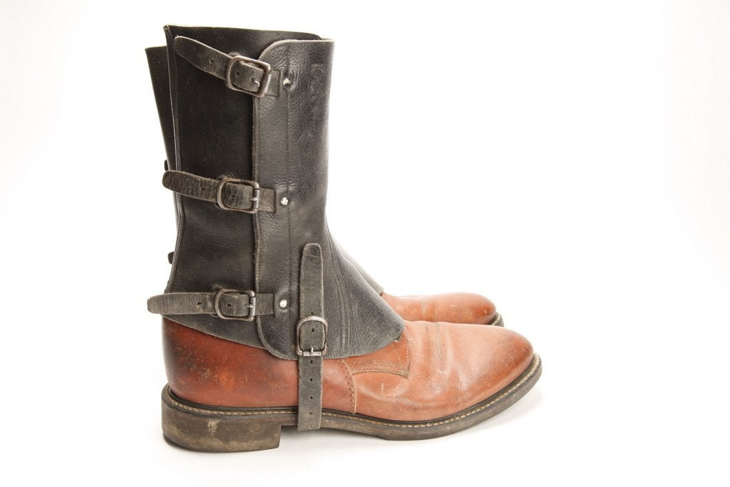 mens leather spats 02 boots not included free shipping