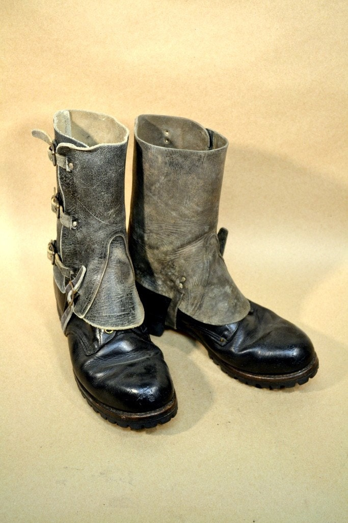mens leather spats 08 boots not included free shipping