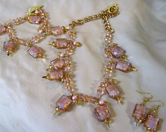 Gold Tone, Light Pink,golds, 3 pc set, Necklace, earrings,bracelet wire wrapped