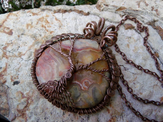 Sunset Yellow Crazy Lace Agate Tree of Life Pendant