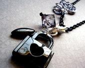 FREE Shipping.  Heart Lock Charm Necklace.  Black.  Grey.