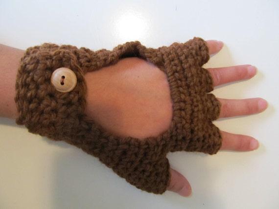 Brown Crochet Driving Gloves D41