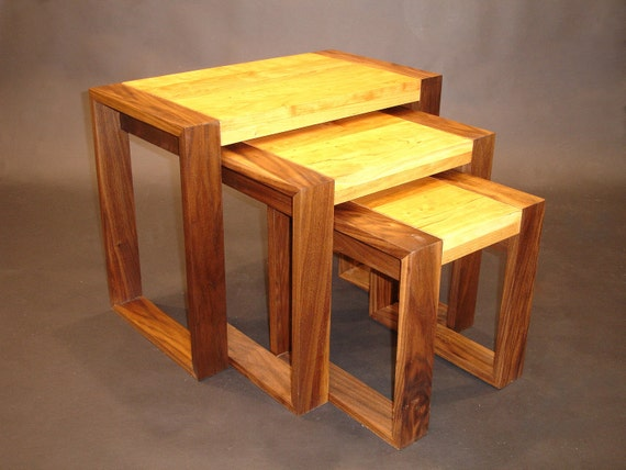 Cherry and walnut nesting tables or stools