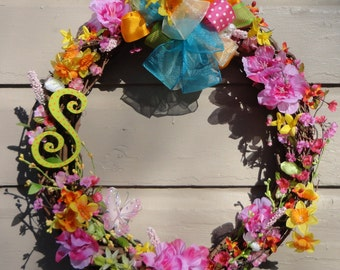 Letter S grapevine spring summer little girls wreath of pink, turquoise, yellow, orange, polkadots, azaleas, daffodils 21X19X5