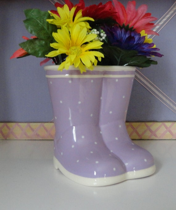 Purple ceramic rain boots of white polks dots with yellow red purple pink daisies