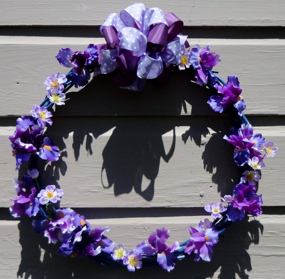Blue willow wreath of purple lavender iris polka dotted sheer ribbon bow