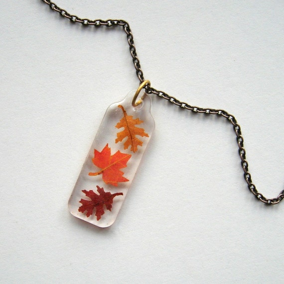 Falling Leaves - Real Autumn Leaves Necklace