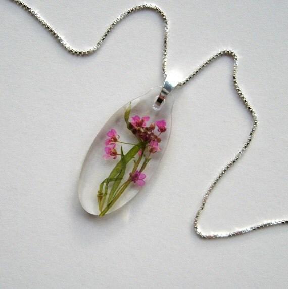 Pink Alyssum - Real Flower Garden Necklace