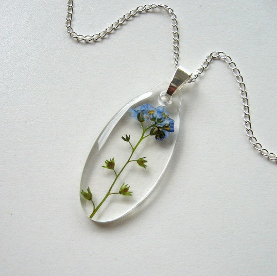Forget Me Not - Real Flower Garden Necklace
