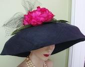SALE Fabulous Designer-Custom OOAK- Black Raffia-large Pink Flower-black Netting-Wide Brim-Church Easter Garden Party Dress Hat