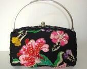 Sale Designer Evening Purse, OOAK, black Jeweled Pearls Beads Sequin Embroidery FRENCH Silk, Pink Floral Design,Silvertone framed,Handbag
