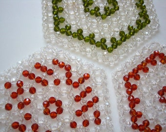 Unique Vintage Novelty  Amber Green Clear faceted Beaded Hexagon Doilies, Lot of three 3