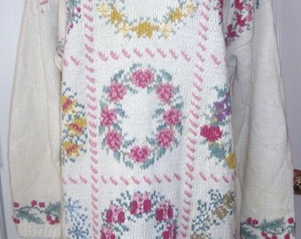 Pink Sweater HandKnit, Signatures by Northern Isles, Cream,  Green, Wreath ROSES Ribbons, Large Oversized, Cotton Vintage NEW