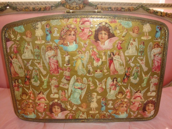 Fabulous Vintage Novelty Gold Pink, Christmas ANGELS, Decoupage Display Suitcase