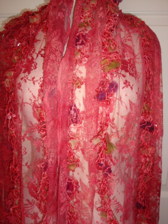 """Gorgeous Designer FRANCE Coral Roses fine netted Lace w/ Silk Organza Flower Sequin Fringe Fabric 1yd 27"""" 52""""W"""