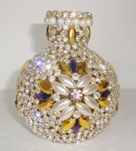 Glitzy Sparkly, Custom OOAK,Pearl, Gold, Opal, Purple Rhinestones Swarovski Crystals, Floral Decorative Bottle Vase