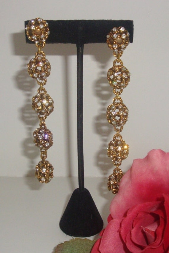Vintage Designer, Goldtone Rhinestones Earrings, Drop, Dangle, long 4.5 inches, Clip-on