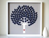 Unique Wedding Guest Book - Modern 3D Wedding Tree - Dark Leaves - MED - For up to 150 guests (includes frame, instruction card & pens)