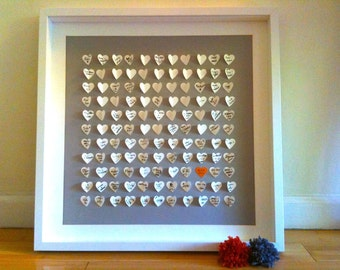 Personalized Wedding Guest Book, Unique Wedding Guest Book Alternative - Personalized 3D Wedding Hearts - MED - for 170 guests
