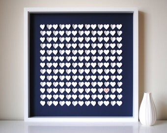 Wedding Guestbook Alternative - Personalized 3D Wedding Hearts - LARGE - For up to 240 guests (includes frame, instruction card & pens)
