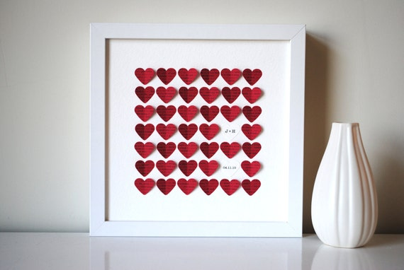 Personalized Wedding Gift, 3D Song Hearts (red) - made from song lyrics or wedding vows (Unique anniversary present)