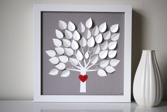 Wedding Guest Book Alternative - Personalized 3D Wedding Tree -  XS - For up to 60 guests (includes frame, instruction card & pen)