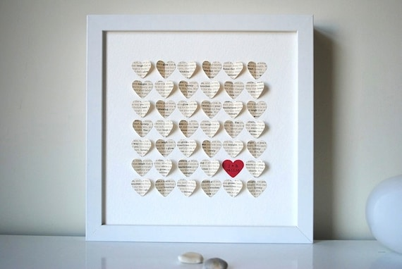 Wedding Gift, Personalized Framed 3D Song Hearts - your song lyrics or ...