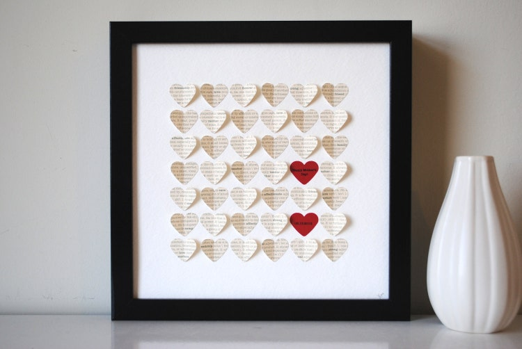Unique Wedding Gifts Au : Wedding Gift Personalized Framed 3D Song Hearts by SuzyShoppe