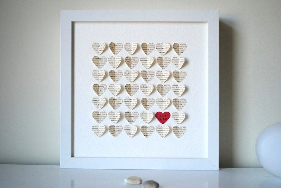 Unusual Wedding Gifts To Make : Wedding Gift Personalized Framed 3D Song Hearts your song