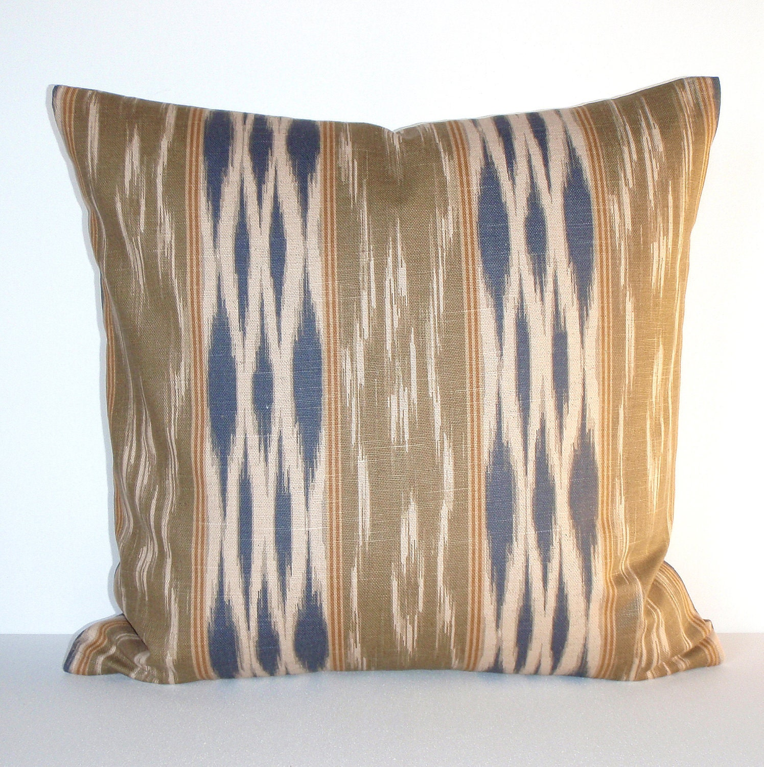 Beige Pillow Cover Southwest Blue Stripe by couchdwellers on Etsy