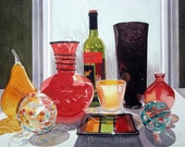 RED & BLACK VASES - watercolor reproduction