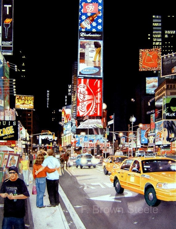 TIMES SQUARE - watercolor reproduction