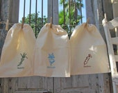 Obscure Vegetable Series: Reuseable Produce Bag Set Featuring Salsify, Kohlrabi, and Daikon