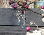 Silver Snowflake Earrings with Icy Blue and Clear Acrylic Briolettes