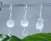RESERVED 4 MA - Cat Eye Dangle Silver Earrings - White Only - 3 sets