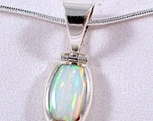 Opal Pendant with Silver Necklace