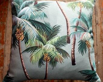 tropical palm tree barkcloth 45cm cushion